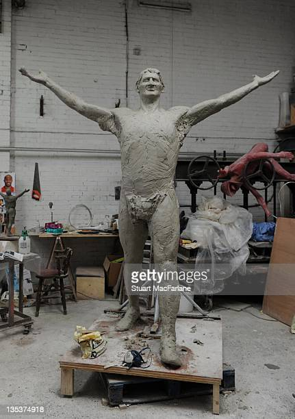 A general view of the statue of former Arsenal player Tony Adams under construction which will be one of three iconic statues to be placed at the...