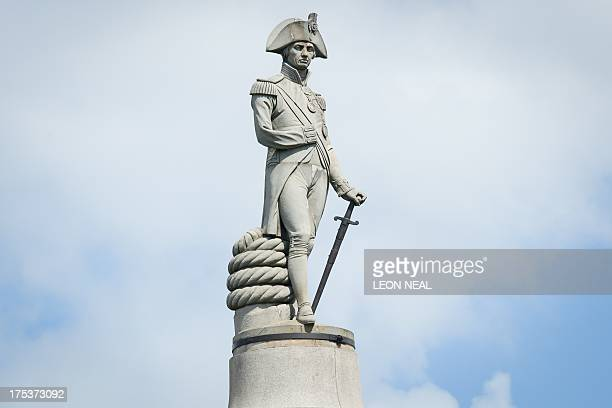 General view of the statue of Lord Nelson on the top of Nelson's Column in Trafalgar Square central London on August 3 2013 AFP PHOTO/Leon Neal