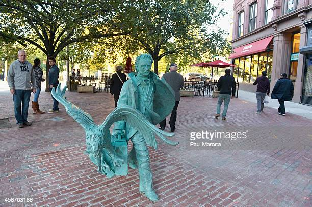 A general view of the statue of writer Edgar Allen Poe by sculptor Stefanie Rocknak unveiled near the the Boston Common on October 5 2014 in Boston