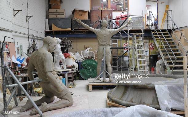 A general view of the statues of former Arsenal players Tony Adams and Thierry Henry under construction which will be one of three iconic statues to...