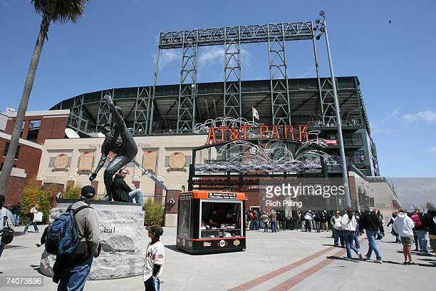 General view of the statute of Juan Marichal outside ATT Park prior to the game between the San Francisco Giants and the Arizona Diamondbacks at ATT...