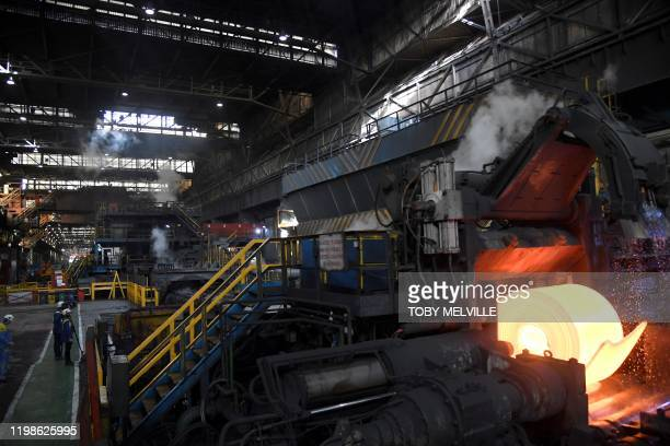 A general view of the steel rolling mill ahead of a visit by Britain's Prince William Duke of Cambridge and his wife Britain's Catherine Duchess of...