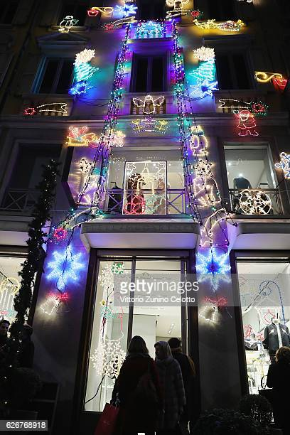 A general view of the Stella McCartney boutique with the Christmas lights on November 30 2016 in Milan Italy