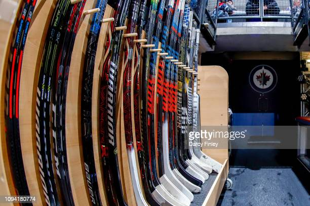 A general view of the stick rack for the Winnipeg Jets ahead of NHL action between the Jets and the San Jose Sharks at the Bell MTS Place on February...
