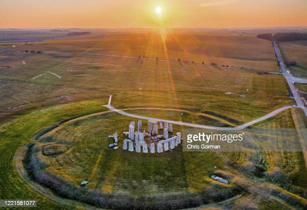 General view of The Stonehenge at Sunset Stunning weather this week has seen major tourist attractions bask in the sunshine The World Heritage site...