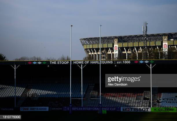 General view of The Stoop as the Twickenham stadium is also seen in the background prior to the European Rugby Challenge Cup Round of 16 match...