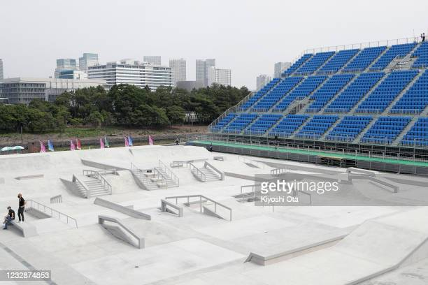 General view of the Street course during the Skateboarding Olympic Test Event at the Ariake Urban Sports Park on May 14, 2021 in Tokyo, Japan.