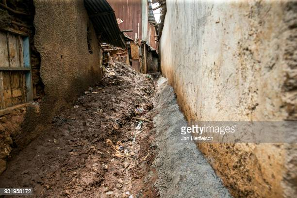 A general view of the street in the Kibera Slum on March 12 2018 in Nairobi Kibera is located 6KM south west of the city centre of Nairobi the...