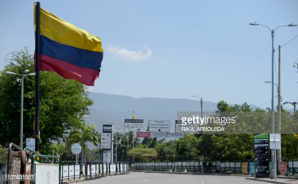 General view of the street leading to the Simon Bolivar International Bridge on February 26 2019 in Cucuta Colombia on the border with Venezuela...
