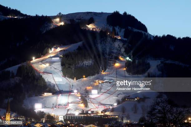 A general view of the Streif slope with the Kitzbuehel village on the evening prior to the Hahnenkamm Rennen Audi FIS Alpine Ski World Sup Men's...