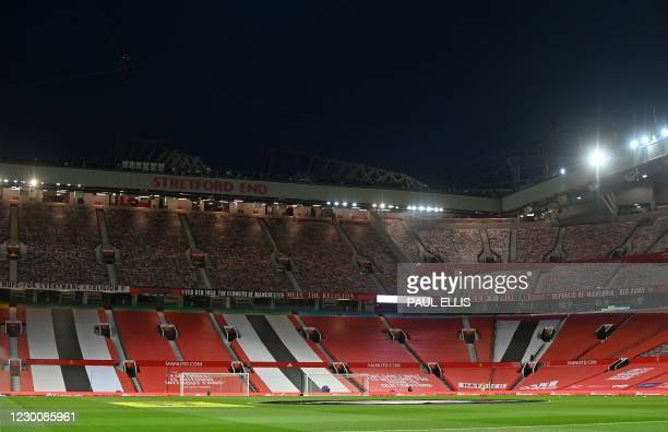 General view of the Stretford End at Old Trafford ahead of the English Premier League football match between Manchester United and Manchester City at...