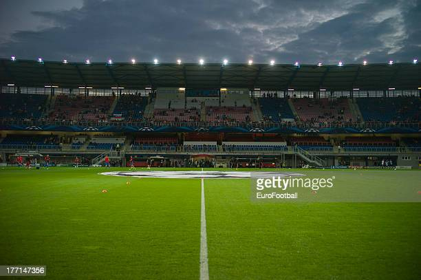 General view of the Struncovy Sady Stadion, home of FC Viktoria Plzen taken during the UEFA Champions League play-off first leg match between FC...