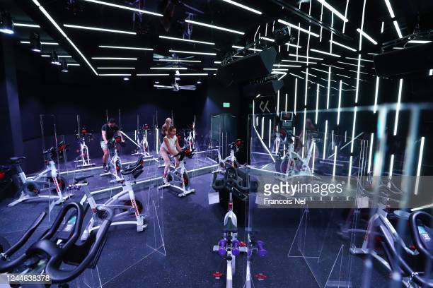 A general view of the studio at Crank Fit Dubai Indoor Cycling Boutique Fitness Studio on June 04 2020 in Dubai United Arab Emirates Perspex...
