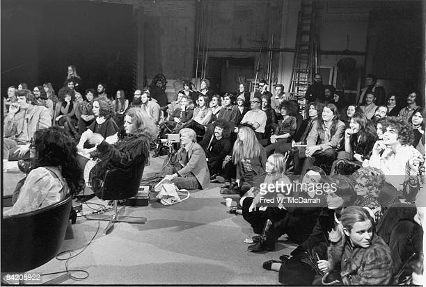 General view of the studio during the taping of an episode of 'The David Susskind Show' devoted to American artist Andy Warhol and the scene...