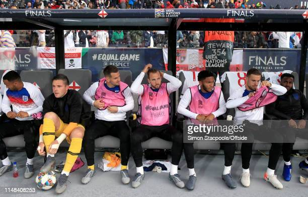 A general view of the substitutes bench which includes Harry Kane of England during the UEFA Nations League SemiFinal match between the Netherlands...