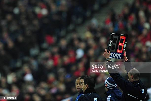 A general view of the substitutes board during the RBS Six Nations match between France and Wales at Stade de France on February 9 2013 in Paris...