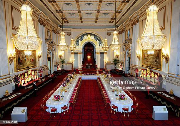 General view of the Summer Opening exhibition at Buckingham Palace, London. The Ballroom has been arranged so that visitors can experience a State...