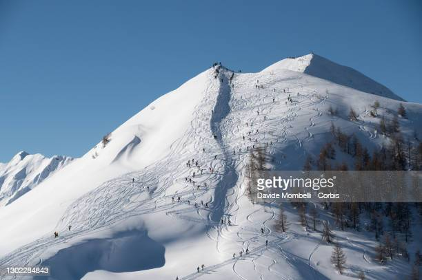General view of the summit during Italian Team Ski Mountaineering Championships on February 14, 2021 in ALBOSAGGIA, Italy.