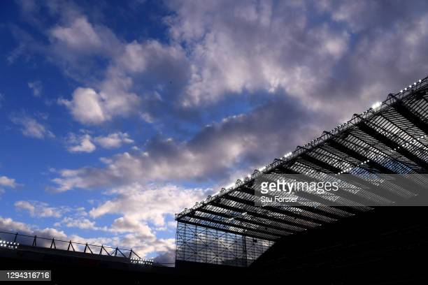 General view of the sun setting behind the West stand of St James' Park, during the Premier League match between Newcastle United and Leicester City...