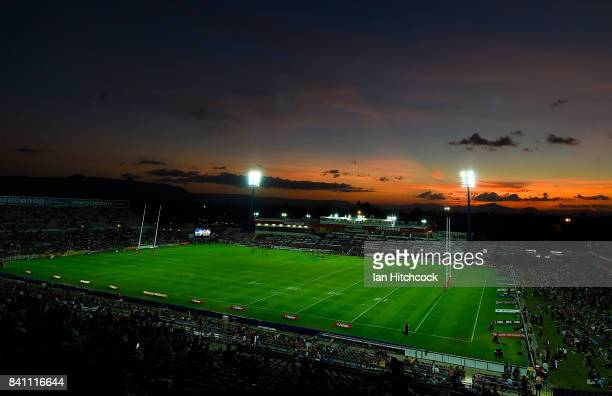 A general view of the sun setting behind the Western Grandstand before the start of the round 26 NRL match between the North Queensland Cowboys and...