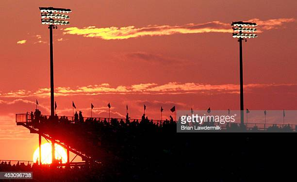General view of the sun setting behing the grand stands during the NASCAR Nationwide Series US Cellular 250 at Iowa Speedway on August 2 2014 in...