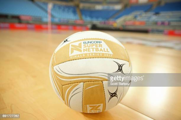 A general view of the Suncorp Super Netball Finals Series 2017 ball on the court during the Super Netball Major Semi Final match between the Vixens...