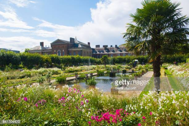 General view of the Sunken Garden, which has been transformed into a White Garden in memory of Princess Diana at Kensington Palace on August 31, 2017...