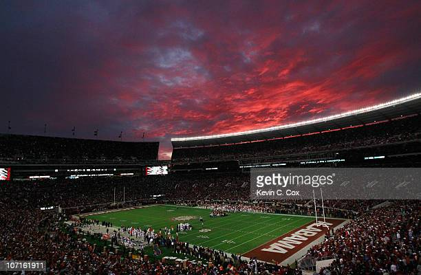 General view of the sunset at Bryant-Denny Stadium during the game between the Auburn Tigers and the Alabama Crimson Tide on November 26, 2010 in...
