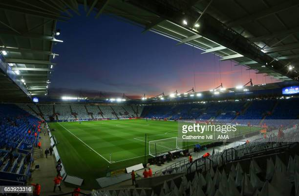 General view of the sunset at the stadium ahead of the UEFA Champions League Round of 16 second leg match between Leicester City and Sevilla FC at...