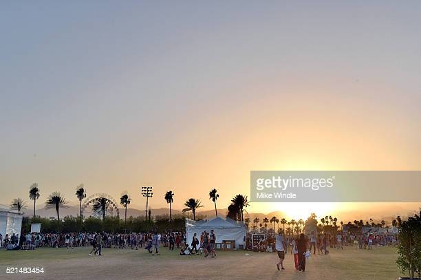 A general view of the sunset during day 1 of the 2016 Coachella Valley Music Arts Festival Weekend 1 at the Empire Polo Club on April 15 2016 in...