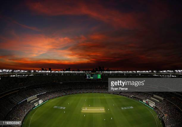 General view of the sunset during the first day night test match in Perth day one of the First Test match between Australia and New Zealand at Optus...