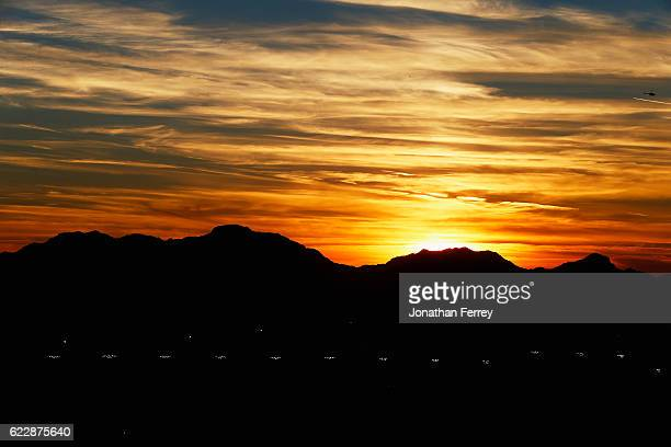 General view of the sunset during the NASCAR XFINITY Series Ticket Galaxy 200 at Phoenix International Raceway on November 12, 2016 in Avondale,...