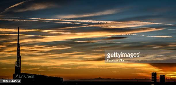 A general view of the sunset on October 24 2018 in Milan Italy The phenomenon is caused by the Föhn a dry wind that originates from the north of the...
