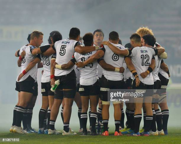 General view of the Sunwolves during the Super Rugby match between DHL Stormers and Sunwolves at DHL Newlands on July 08, 2017 in Cape Town, South...
