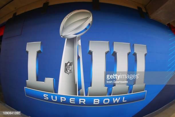 General View of the Super Bowl LIII Logo inside of Mercedes Benz Stadium during Super Bowl LIII week on January 28 2019 in Atlanta GA