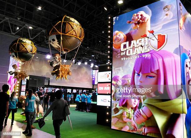 A general view of the Supercell booth during the Tokyo Game Show 2015 on September 17 2015 in Chiba Japan