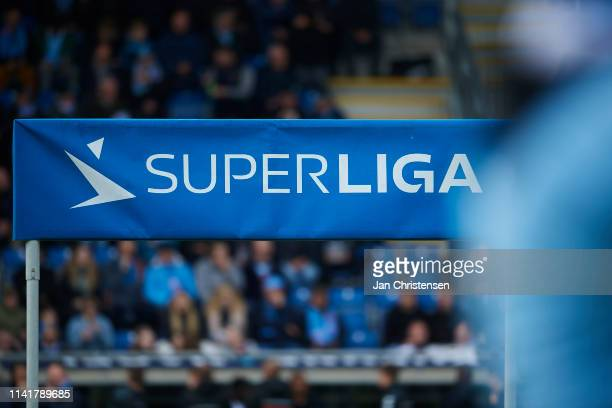 General view of the superliga banner prior to the Danish Alka Superliga match between SonderjyskE and Randers FC at Sydbank Park on May 05, 2019 in...