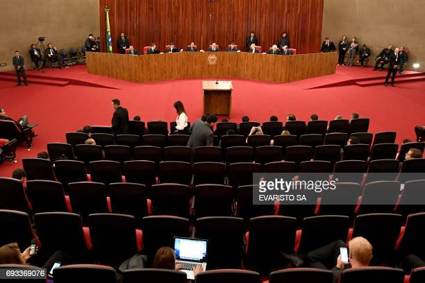 General view of the Supreme Electoral Court session as it examines whether the 2014 reelection of president Dilma Rousseff and her thenvice president...