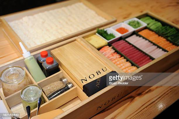 A general view of the sushi at the Hand Roll Box event at Nobu Fifty Seven Balcony on February 19 2013 in New York City