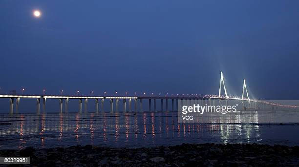 A general view of the Sutong Bridge illuminated at night over the Yangtze River on March 20 2008 in Nantong east China's Jiangsu province With a span...