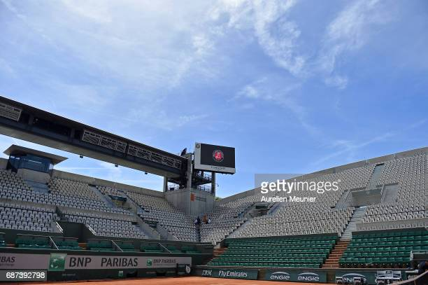 A general view of the Suzanne Lenglen court empty before the start of the 2017 French Open at Roland Garros on May 23 2017 in Paris France