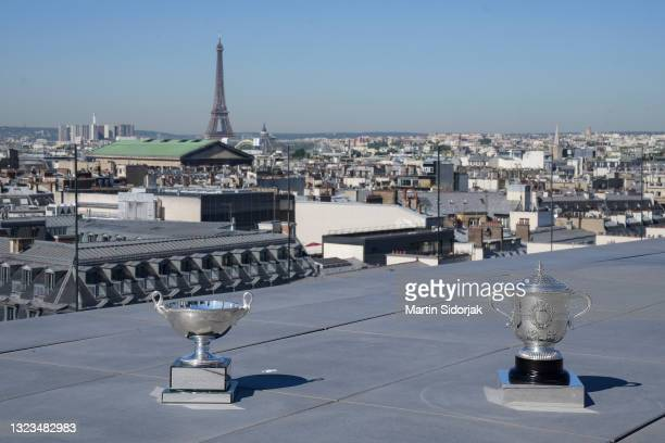 General view of the Suzanne Lenglen Cup and Women's Doubles trophy rooftop of les Galeries Lafayettes Rue de la Chaussee d'Antin during a photocall...