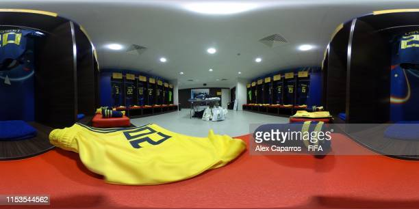 General view of the Sweden dressing room ahead of the 2019 FIFA Women's World Cup France Semi Final match between Netherlands and Sweden at Stade de...