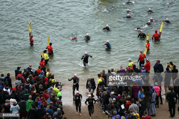 A general view of the swim leg of IRONMAN Wales on September 10 2017 in Tenby Wales