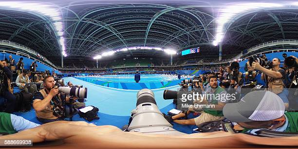 A general view of the swimming event on Day 6 of the Rio 2016 Olympic Games at the Olympic Aquatics Stadium on August 11 2016 in Rio de Janeiro Brazil