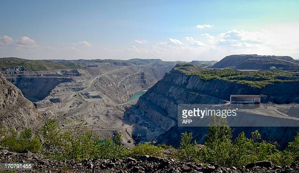 A general view of the Syd Varanger iron ore mine near the arctic city of Kirkenes northern Norway is pictured on June 3 2013 AFP PHOTO / PIERREHENRY...