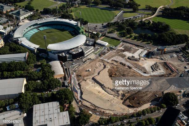General view of the Sydney Cricket Ground and the site of the former Allianz Stadium at Moore Park on April 22, 2020 in Sydney, Australia....