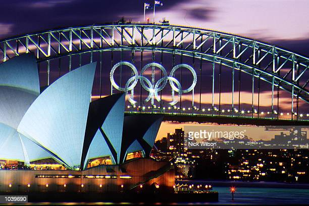 A general view of the Sydney Harbour Bridge and Opera House at sunset decorated with the Olympic Rings Sydney Australia Mandatory Credit Nick...