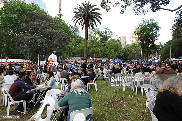 General view of The Sydney Night Noodle Markets at Hyde Park on October 17 2014 in Sydney Australia