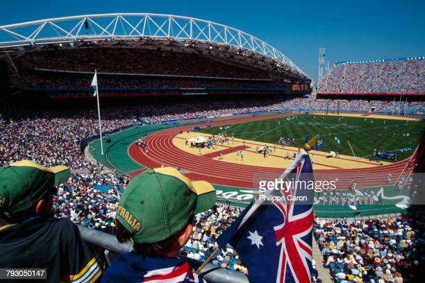 General view of the Sydney Olympic Stadium during the games with Australian fans